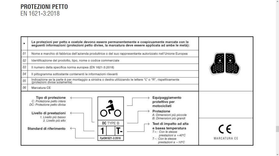 label protezioni moto petto